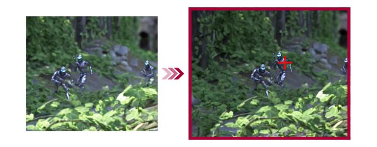 若以兩個遊戲場景為例,與傳統模式相比,十字瞄準模式則能更好地瞄準目標