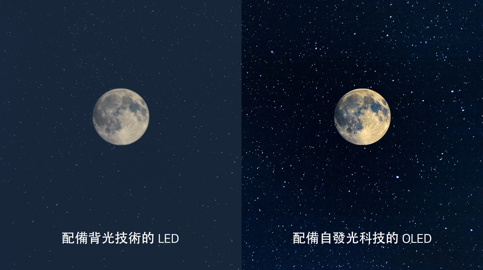 月亮畫面,左側雨的 LED 所呈現的黑色並不清晰,右側的 OLED 則為呈現完美的純黑(播放影片)