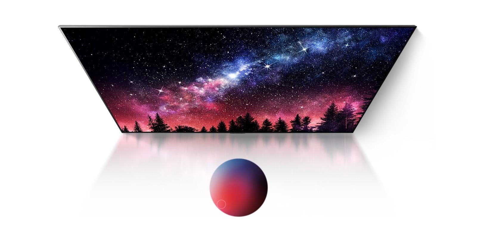 電視螢幕,顯示畫質細膩精緻的銀河系、藍天和彩色塵爆(播放影片)