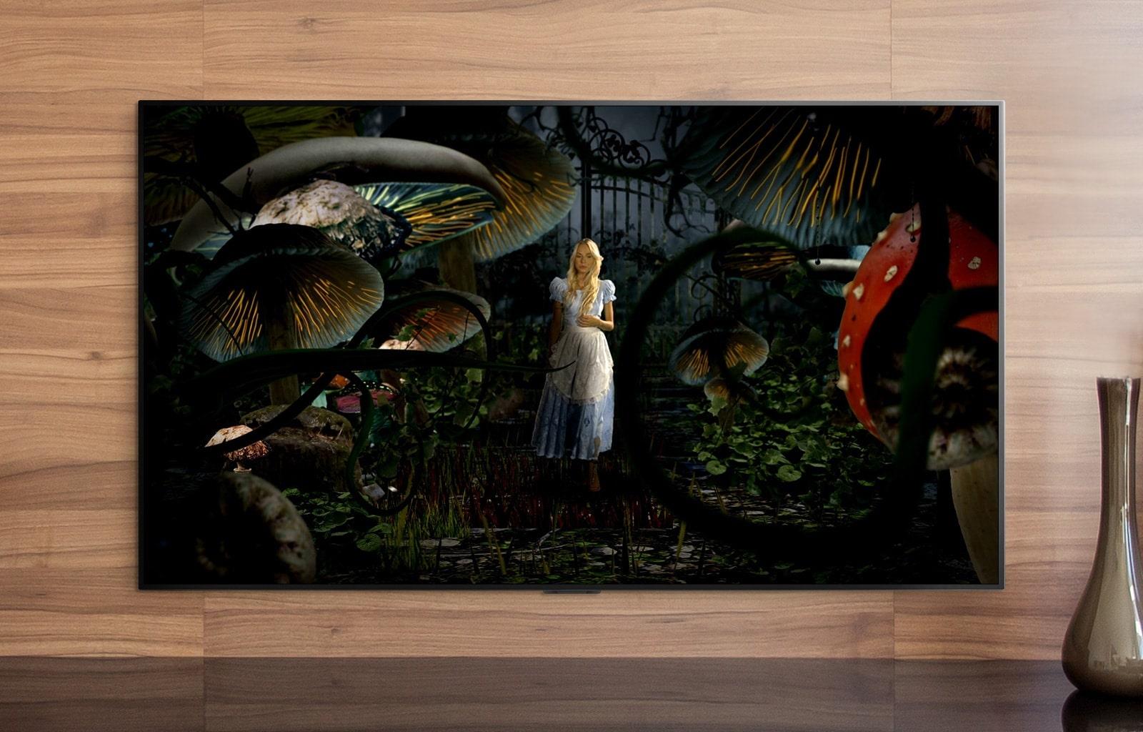 電視屏幕顯示愛麗絲夢遊仙境中的場景。
