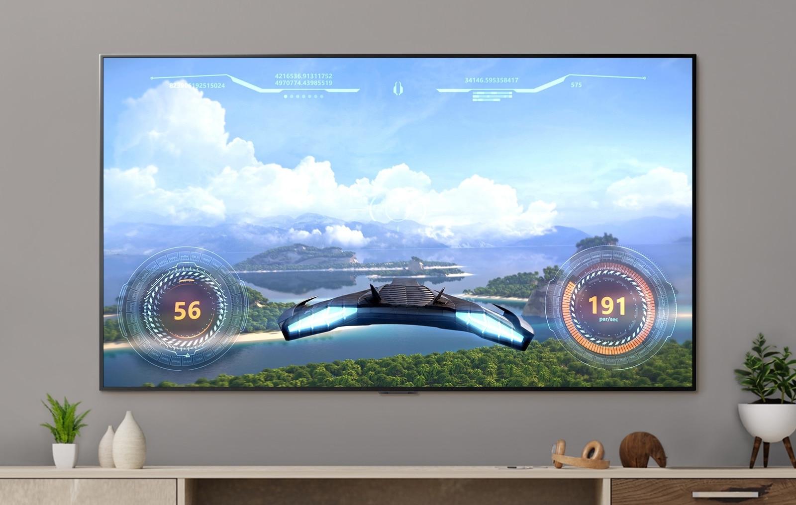 電視屏幕上顯示了太空飛船的遊戲