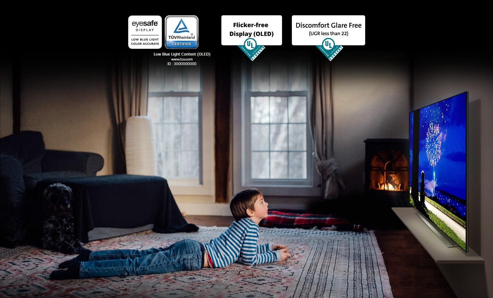 這是解釋「眼部舒適顯示器」的畫面。 一個男孩俯臥著看電視的場景。 四個「眼部舒適顯示器」認證標誌。
