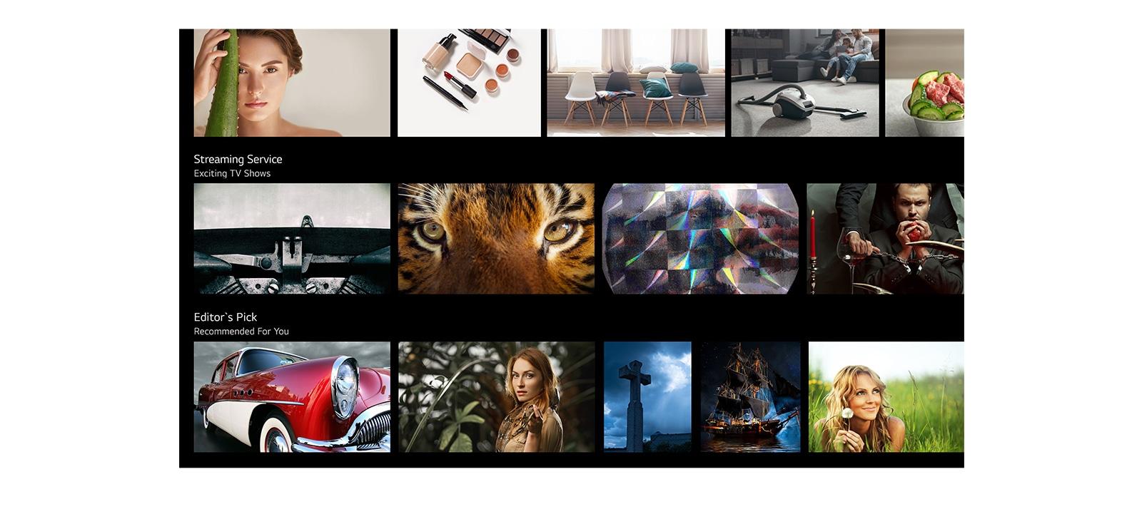 電視螢幕,顯示 LG ThinQ AI 列出並推薦的各種內容