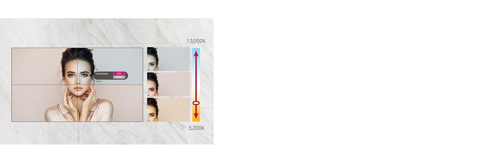49VL5G puede ajustar la temperatura de color de 3200 K a 13 000 K en unidades de 100 K.