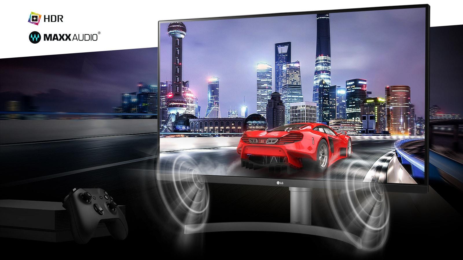 Сцена игрового автомобиля из иммерсивной консольной игры в реальном 4K HDR с MAXXAUDIO®