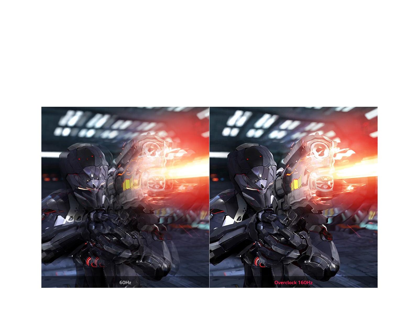 primerjava Fluid Gaming Motion s 60Hz in overclocking 160Hz
