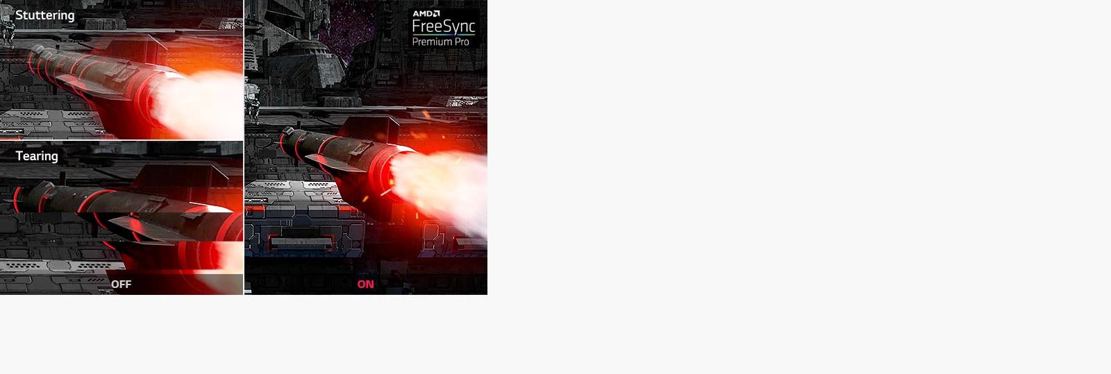 Gibalno gibanje z AMD FreeSync ™ Premium Pro v primerjavi z OFF