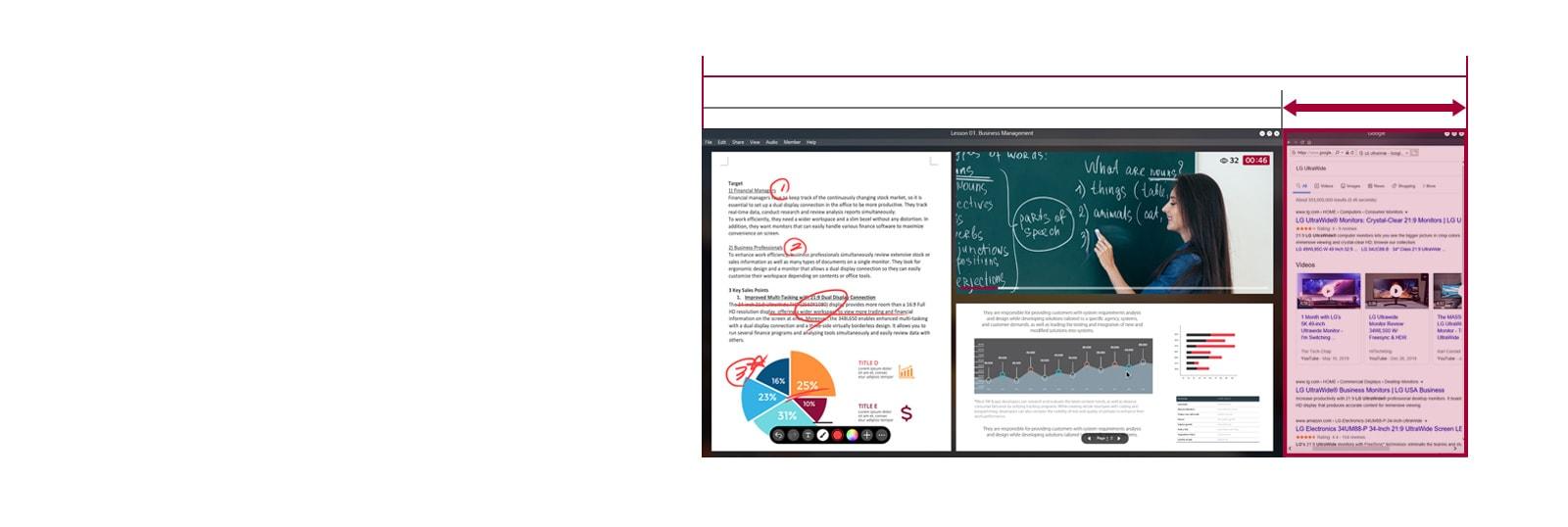 Más espacio en la pantalla de la pantalla 21: 9 UltraWide en comparación con la pantalla 16: 9 con una clase en línea continua en la pantalla.