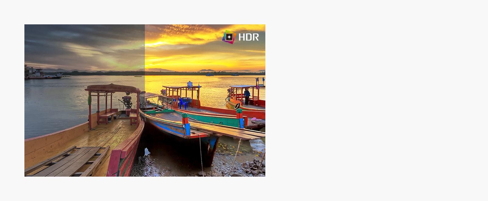 HDR, que admite niveles específicos de color y brillo, en comparación con SDR con colores dramáticos del contenido