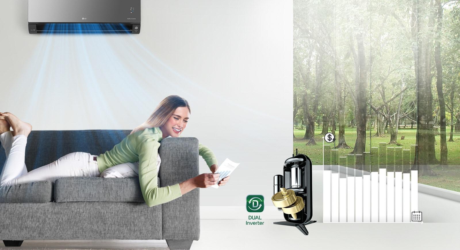 Žena se odmara na kauču smiješeći se dok iz klima-uređaja iznad nje puše zrak. Desno od žene nalazi se logotip Dual Inverter i slika uređaja Dual Inverter. Dalje desno nalazi se stupčasti grafikon. Stupci se podižu, ukazujući na potrošeni novac, a zatim se spuštaju kako bi pokazali da dvostruki pretvarač štedi novac kupaca.