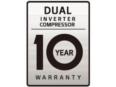 Logotip DUAL Inverter 10 Year Warranty.