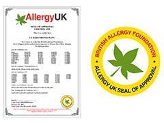 Certificiralo Britansko udruženje za alergije (BAF)1