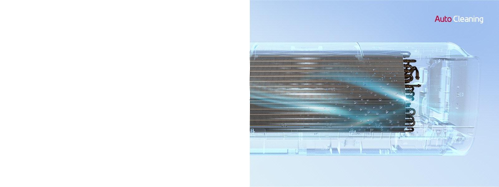 Prikaz LG klima-uređaja s prednje strane s vanjskim dijelom koji je potpuno nevidljiv tako da se može vidjeti unutarnji dio uređaja. Uređaj radi, a zatim se pali plavo svjetlo, odnosno mehanizam za automatsko čišćenje, te prelazi preko uređaja plavim svjetlom. Logotip AutoCleaning nalazi se u gornjem desnom kutu.