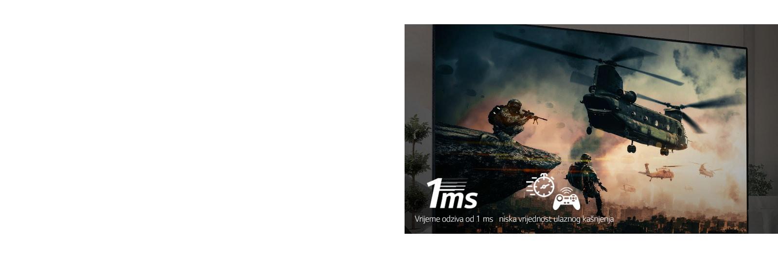 TV zaslon s prikazom borbene igre s naoružanim vojnicima i helikopterima koji lete u nebo.