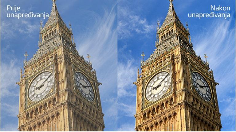 """Slika građevine Big Ben na desnoj strani s tekstom """"Nakon unapređivanja"""" svjetlija je i jasnija u odnosu na istu sliku na lijevoj strani s tekstom """"Prije unapređivanja""""."""