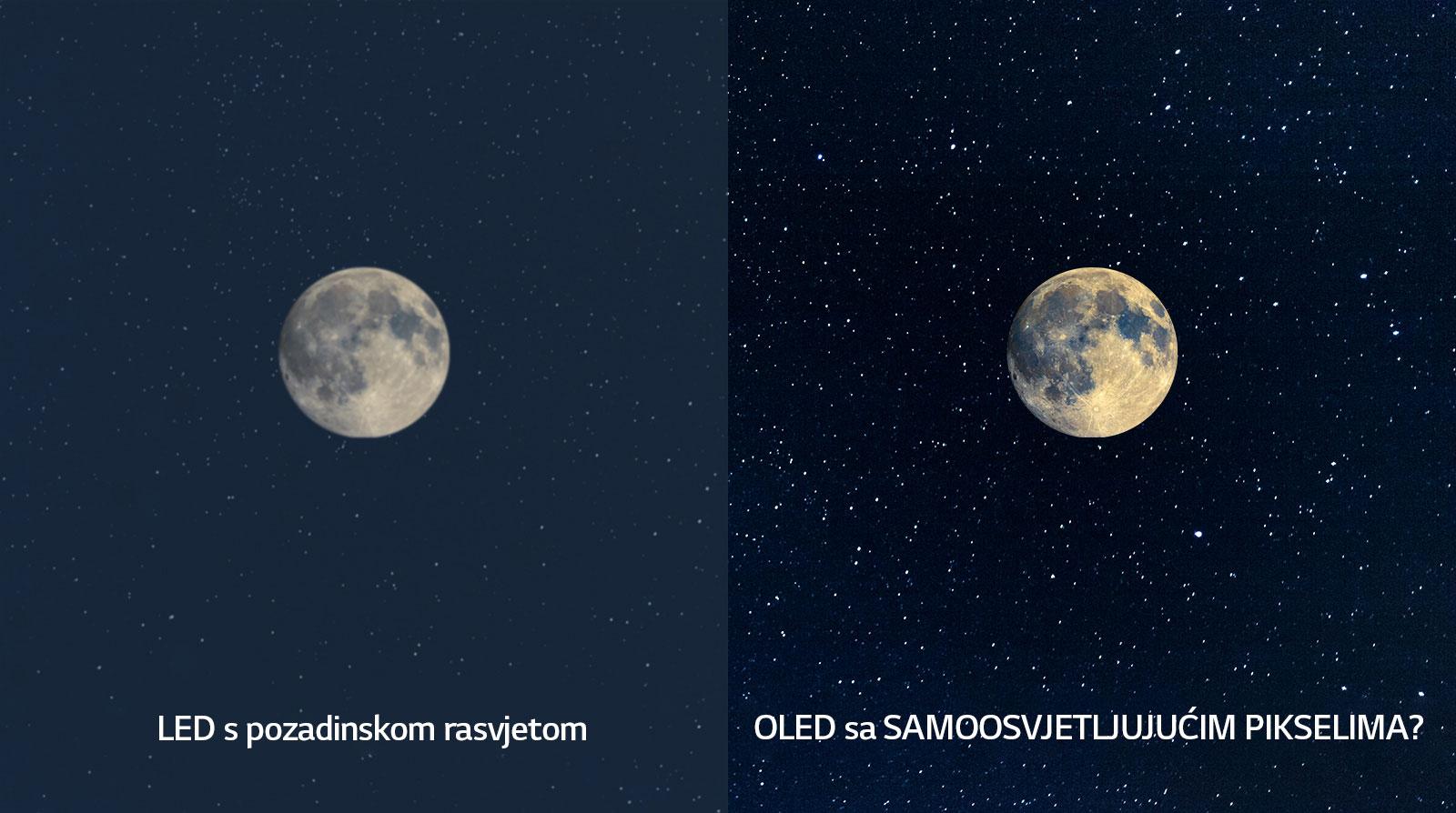 Prizor mjeseca, LED na lijevoj strani u nejasnoj crnoj boji i OLED na desnoj strani sa savršenom crnom bojom (reproduciraj videozapis)