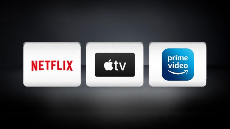 Logotip Apple TV, logotip Netflix poredani su vodoravno na crnoj pozadini.