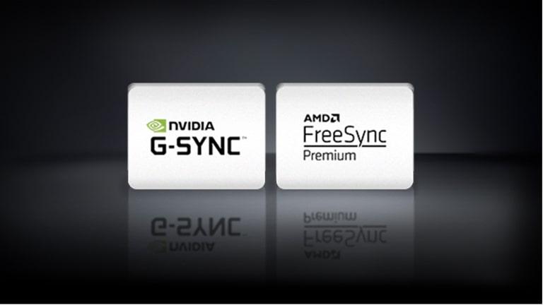 Logotip NVIDIA G-SYNC, logotip AMD FreeSync i logotip XBOX SERIES X vodoravno su poredani na crnoj pozadini.