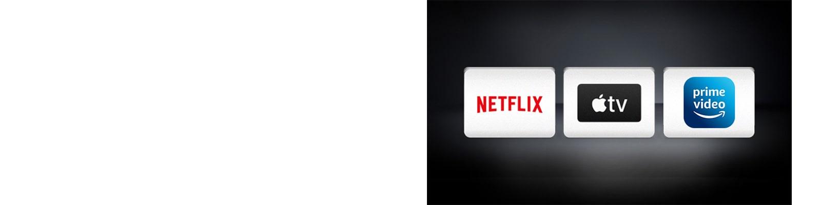 Logotip Apple TV in logotip Netflix sta vodoravno razporejena na črni podlagi.