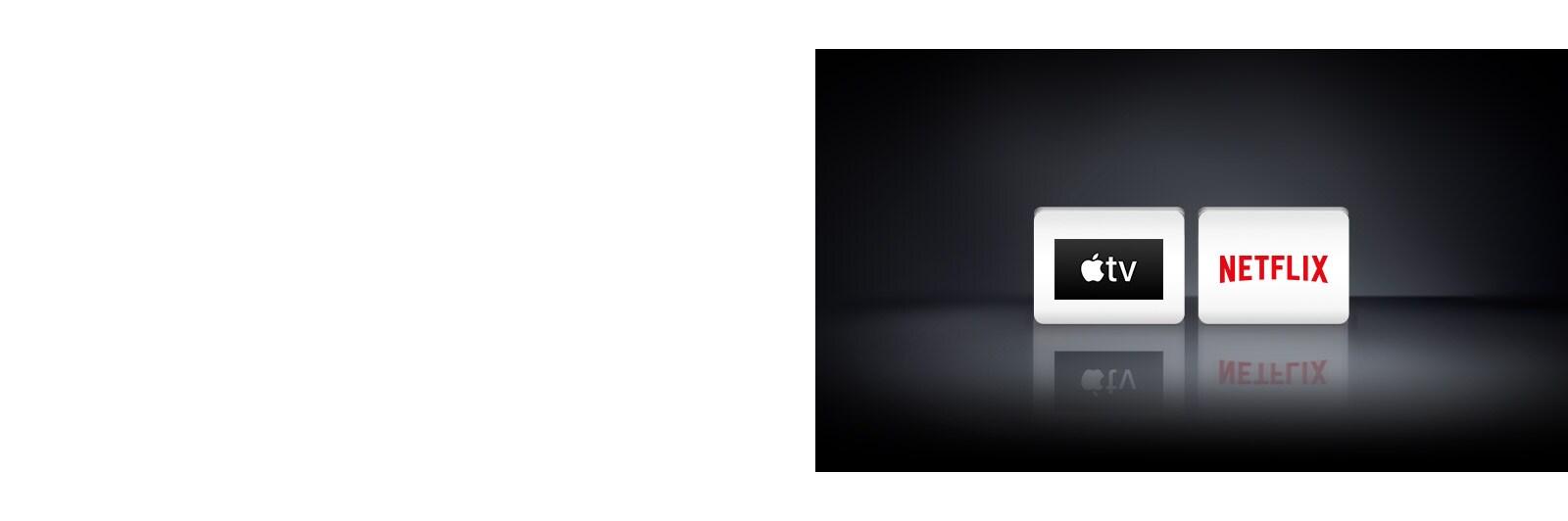 Dva logotipa aplikacija prikazana slijeva nadesno: aplikacija Apple TV i Netflix