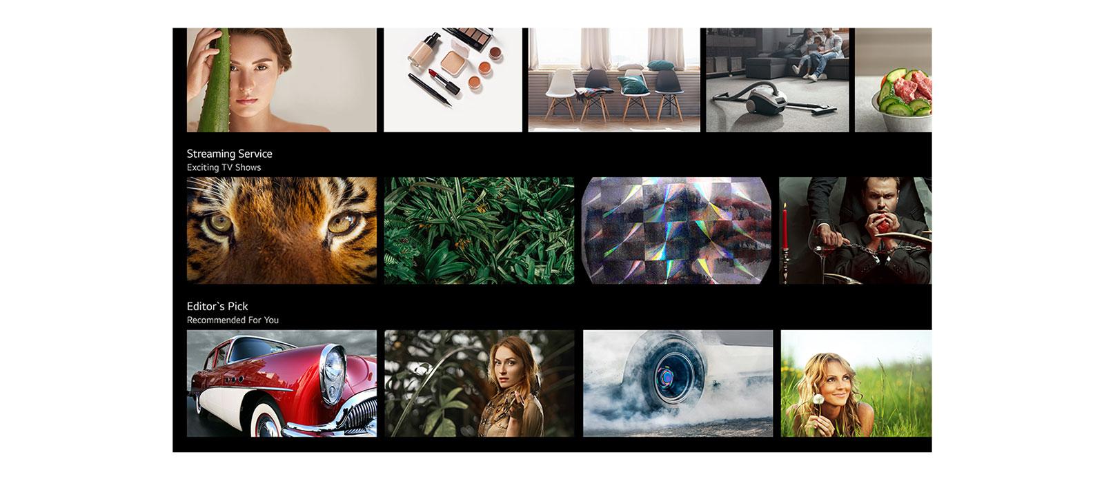 TV zaslonu koji prikazuje razne sadržaje koje je nabrojala i preporučila aplikacija LG ThinQ AI (reproduciraj videozapis).