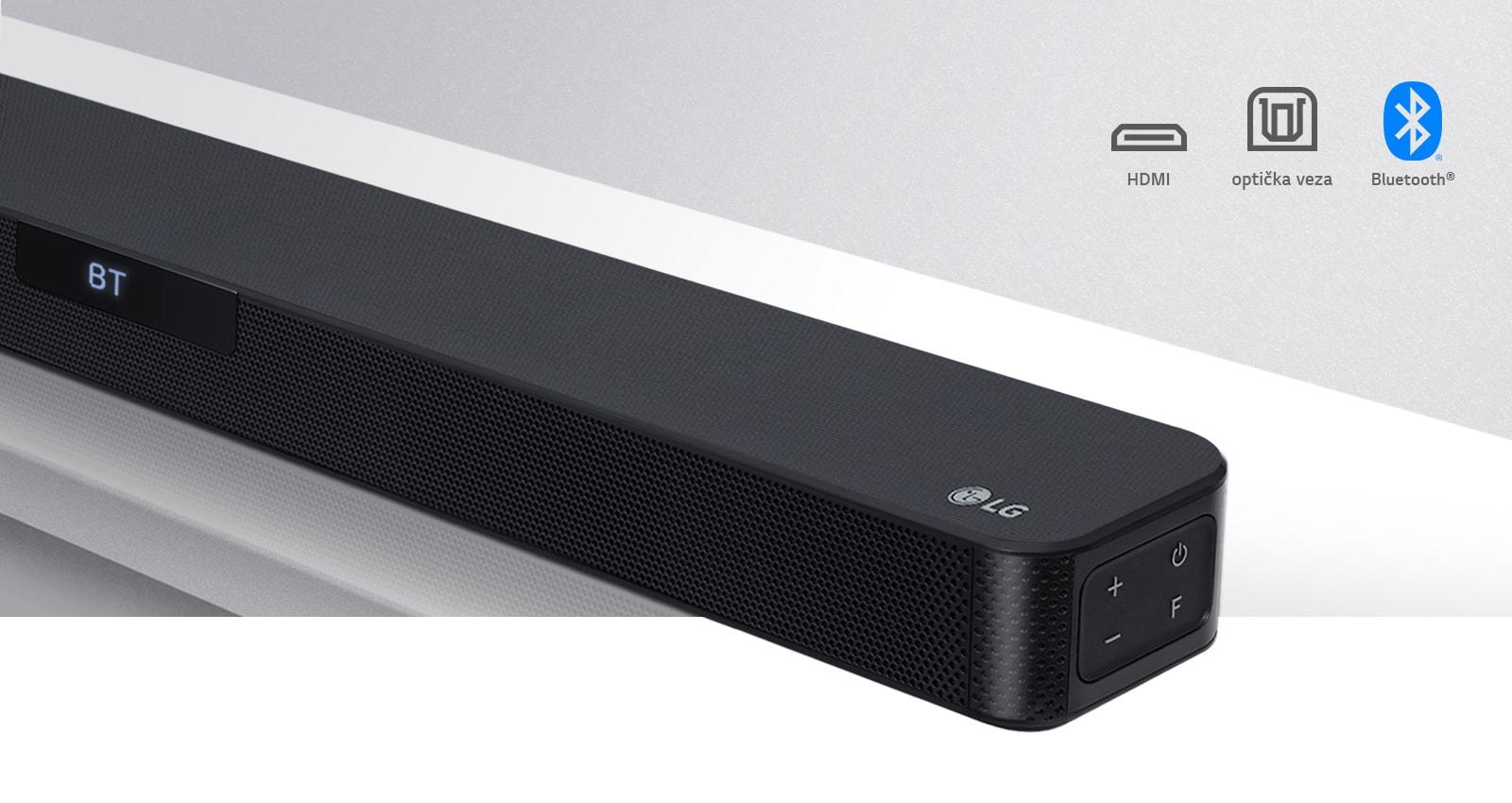 Prikaz izbliza desne strane zvučnika LG Sound Bar s logotipom tvrtke LG u donjem desnom kutu. Ikone za povezivost prikazane su iznad proizvoda.