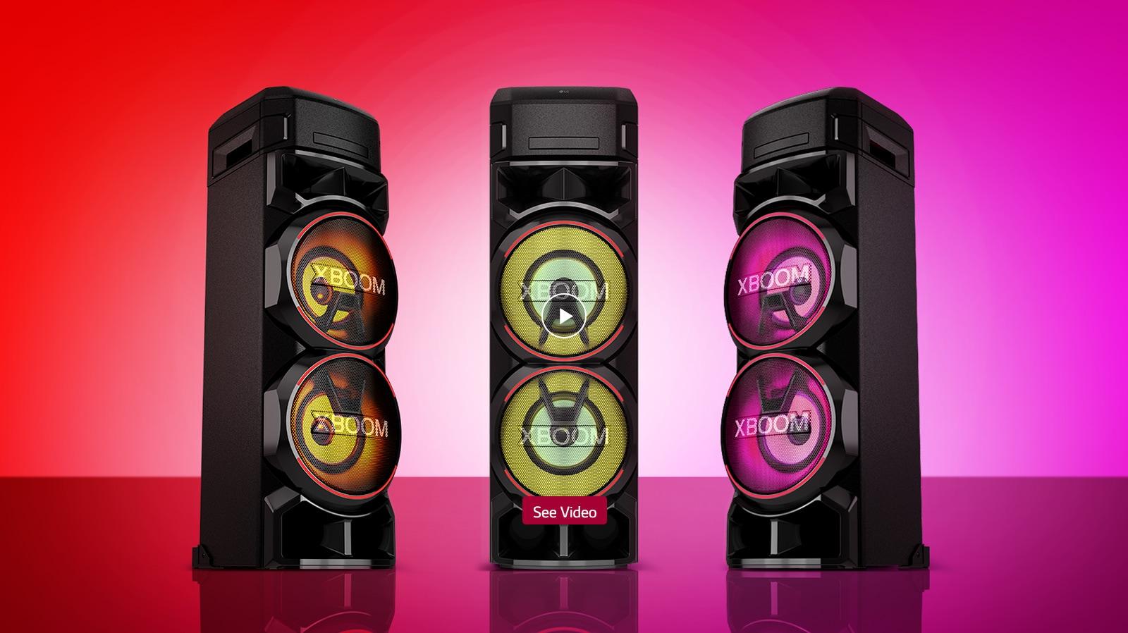 Video prikaz različne osvetlitve na treh zvočnikih sistema LG XBOOM.