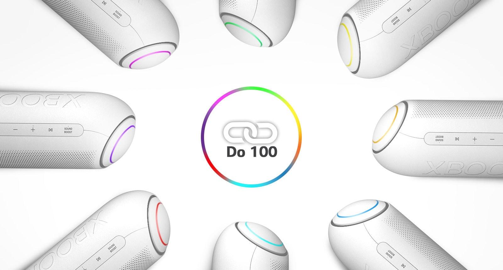 Na bijeloj se pozadini osam zvučnika LG XBOOM Go s raznim svjetlima nalazi u krugu oko ikone s vezom.