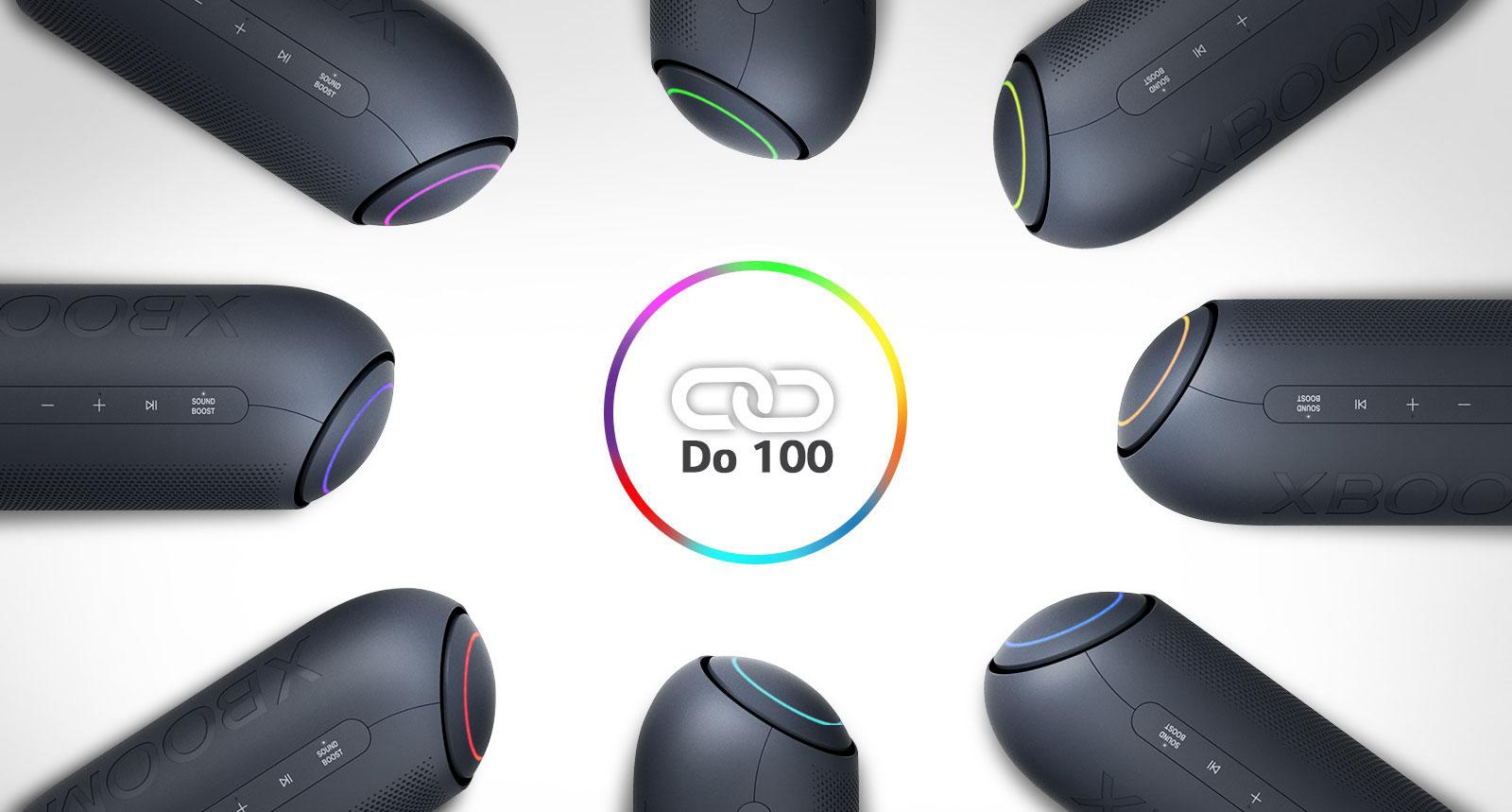 Na belem ozadju se osem zvočnikov LG XBOOM Go z različnimi lučmi nahaja v krogu okoli ikone povezave.