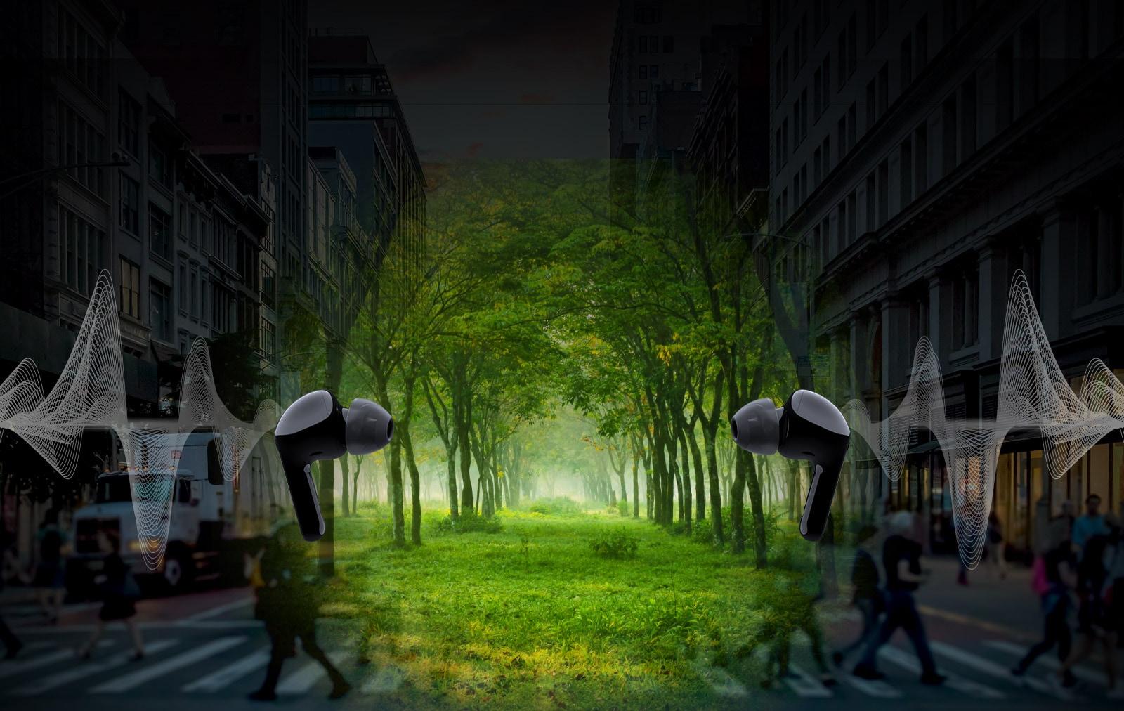 Slika dviju slušalica okrenutih jedna prema drugoj, a iza svake se nalazi ilustracija vala. Riječ je o virtualnom prostoru, grad i šuma u sredini.