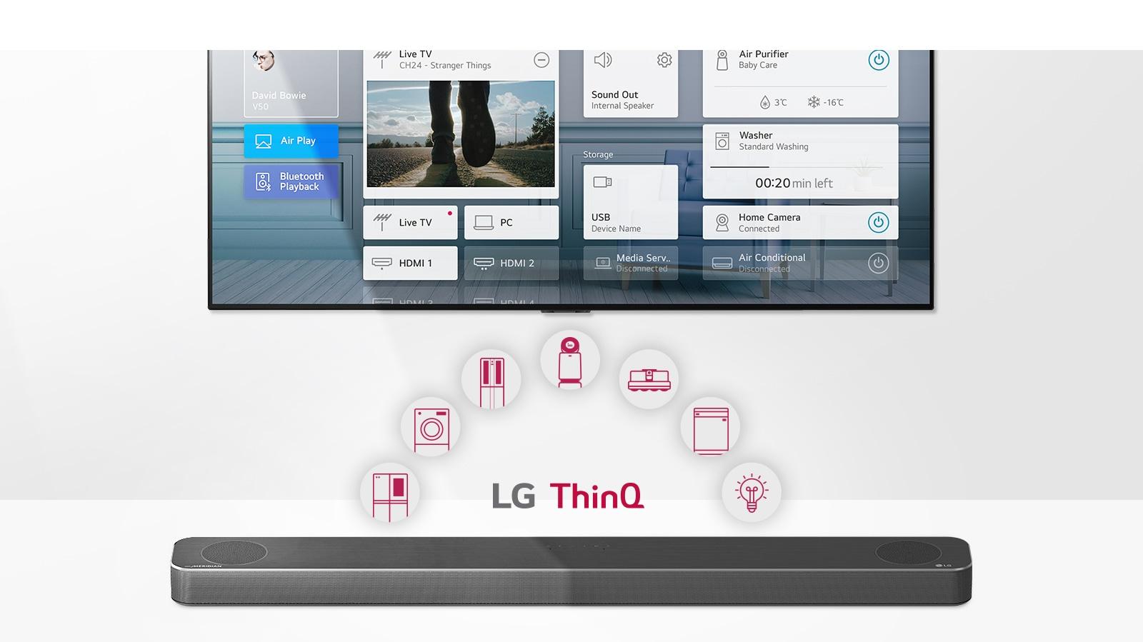 Televizor je na steni. Zvočnik LG Sound Bar se nahaja pod televizorjem. Logotip LG ThinQ in ikone naprav so prikazani med televizorjem in zvočniki LG Sound Bar.