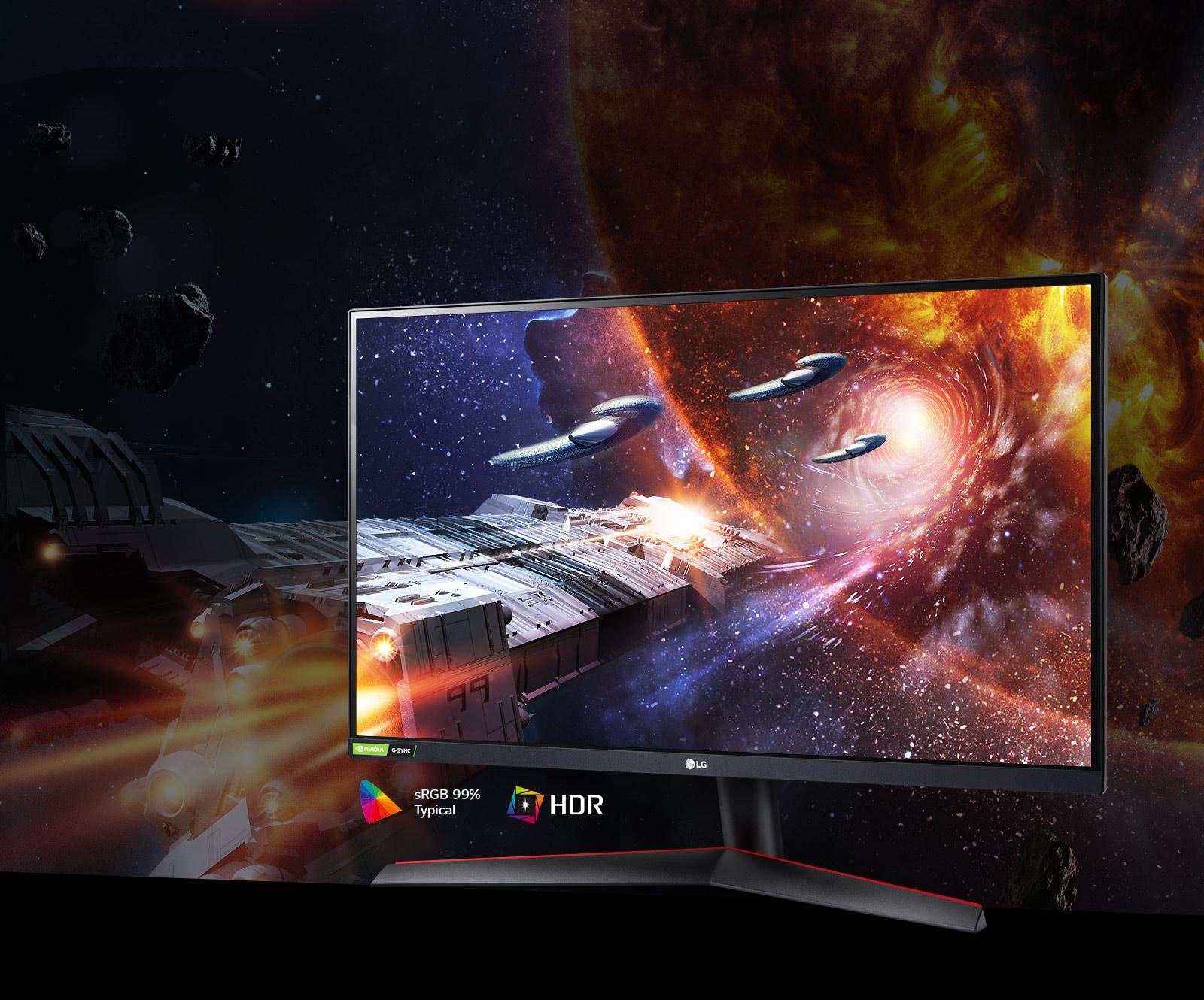 Scena iz videoigre u bogatim bojama i kontrastu na monitoru koji podržava HDR10 sa sRGB 99 % (tip.)
