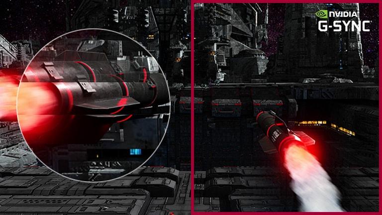 Rotirajuća raketa leti do meta pri velikim brzinama u FPS videoigri, a kretanje brzorotirajuće rakete uhvaćeno je zumiranjem na veći prikaz i ide besprijekorno s uključenim modom tehnologije G-sync u usporedbi s drugom scenom gdje je mod G-sync isključen.