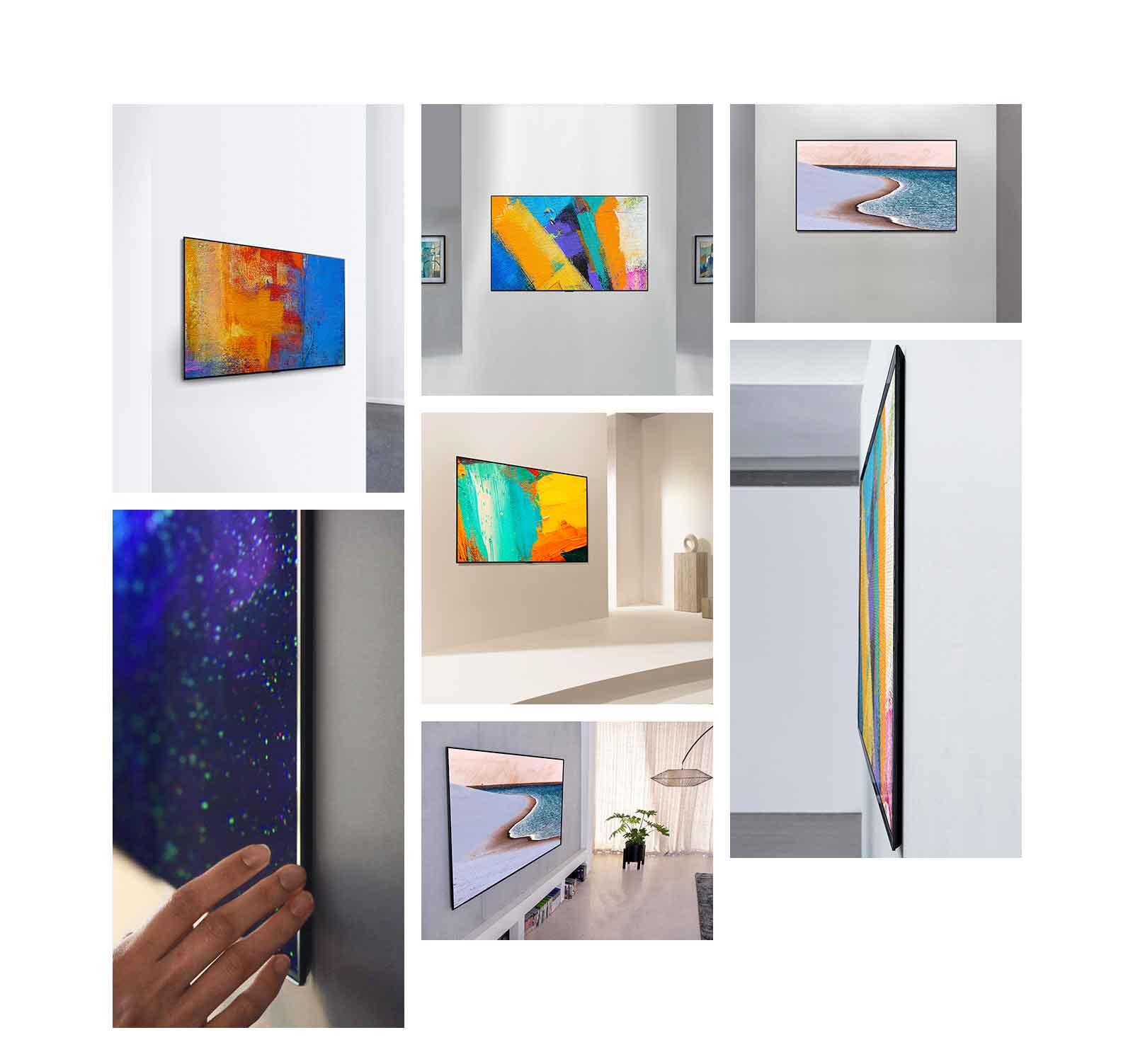 Pogled sa strane LG Gallery Design TV koji estetski iskače sa zida, poput umjetničkog djela.
