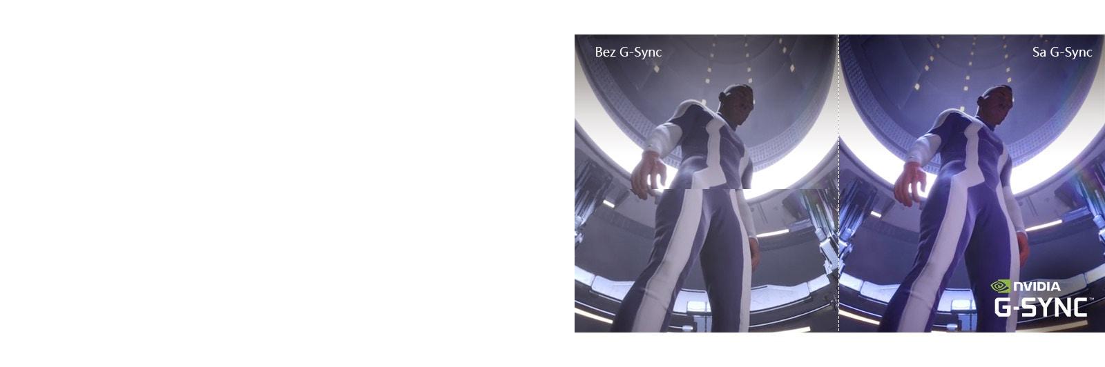 Prizor lika iz video igre je prikazan na LCD / LED televizorju z raztrgano sliko, druga polovica pa je prikazana na LG OLED TV, ne da bi se slika raztrgala.