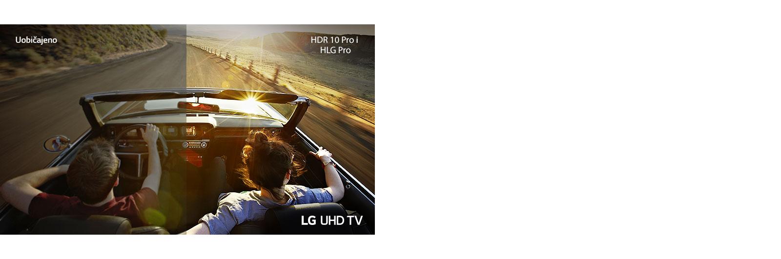 Par u automobilu koji se vozi niz cestu. Jedna polovica prikazana je na uobičajenom zaslonu slabe kvalitete slike. Druga polovica prikazana je na zaslonu televizora LG UHD bistre i raskošne kvalitete slike.