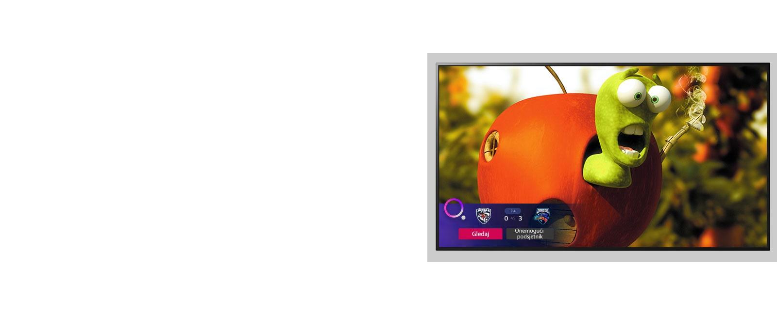 Televizor na kojem je prikazan lik iz animiranog filma i sportski podsjetnik na dnu zaslona.