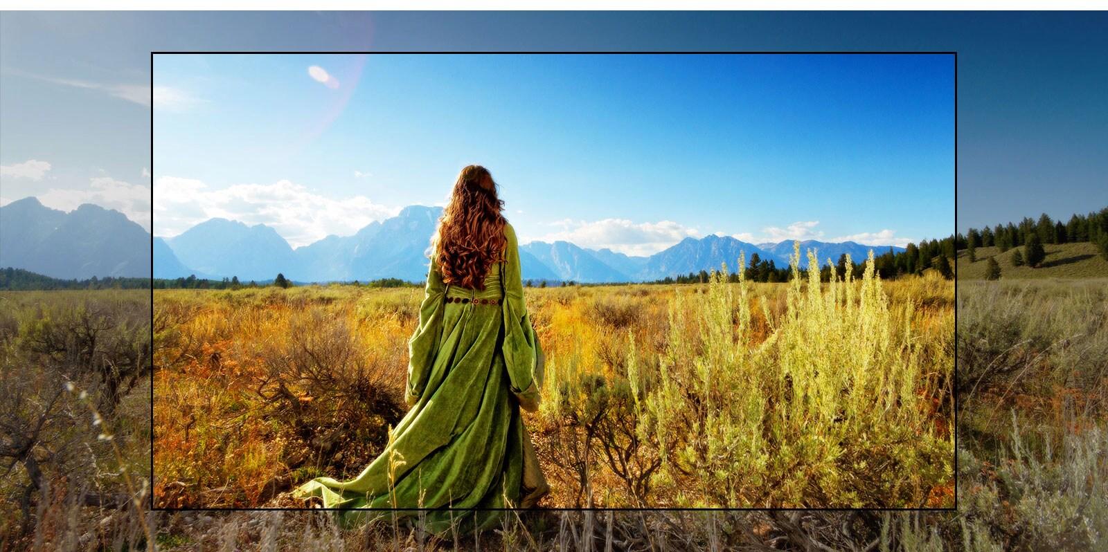 TV-zaslon, ki prikazuje prizor iz fantazijskega filma, v katerem ženska stoji na polju in opazuje gore.