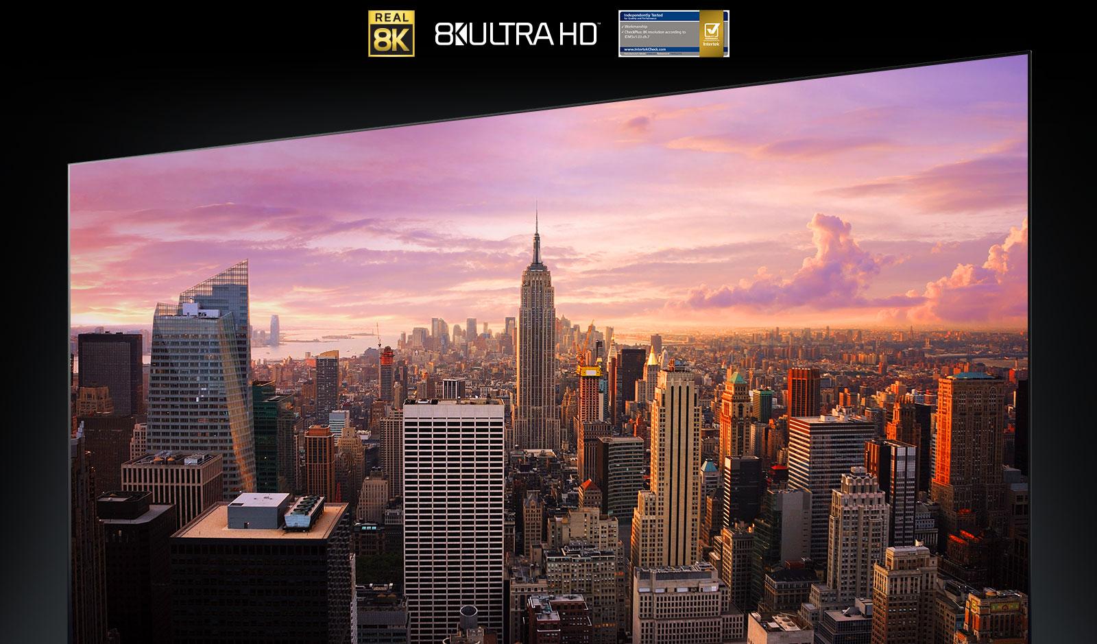 Panoramski pogled na New York na TV zaslonu