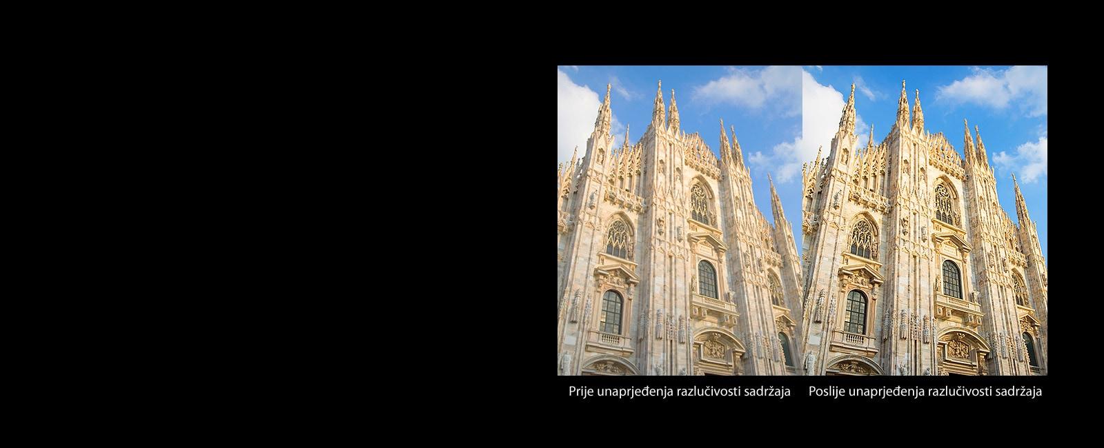Primerjava katoliške cerkve pred in po nadgradnji.