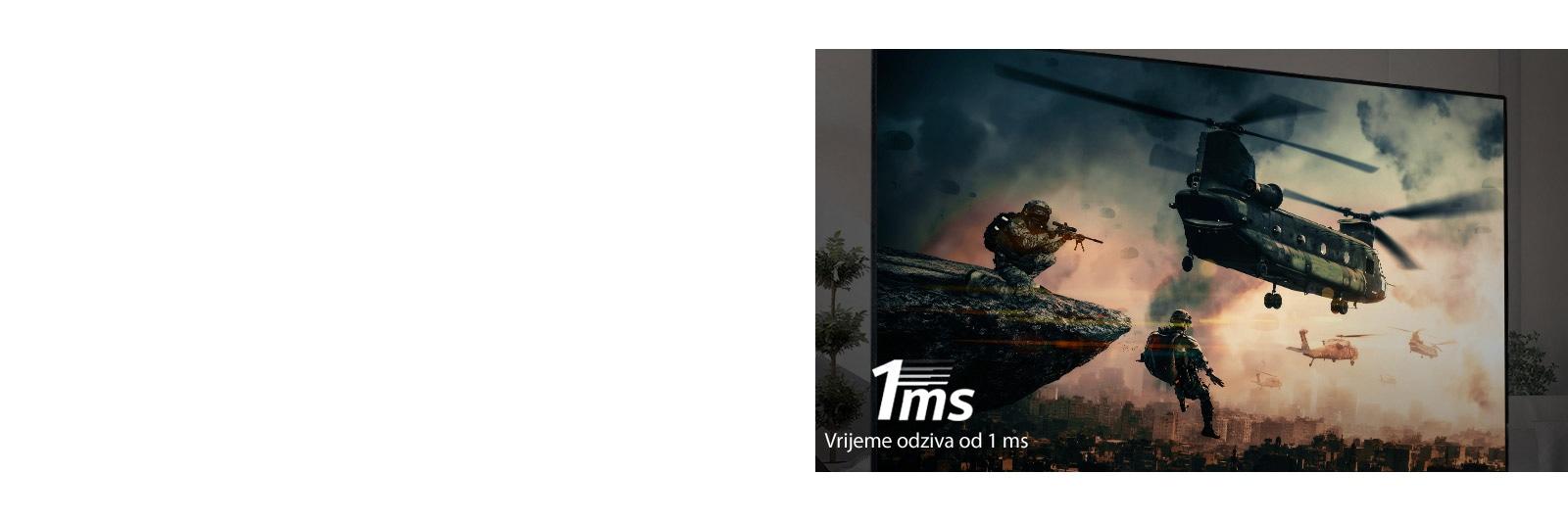 TV zaslon prikazuje bojno igro z oboroženimi vojaki in helikopterji, ki letijo po nebu.