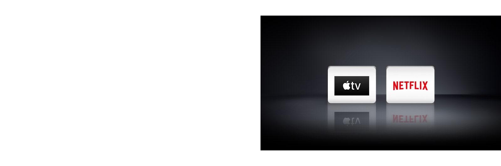 Dva logotipa aplikacija prikazana slijeva nadesno: aplikacija Apple TV i Netflix.