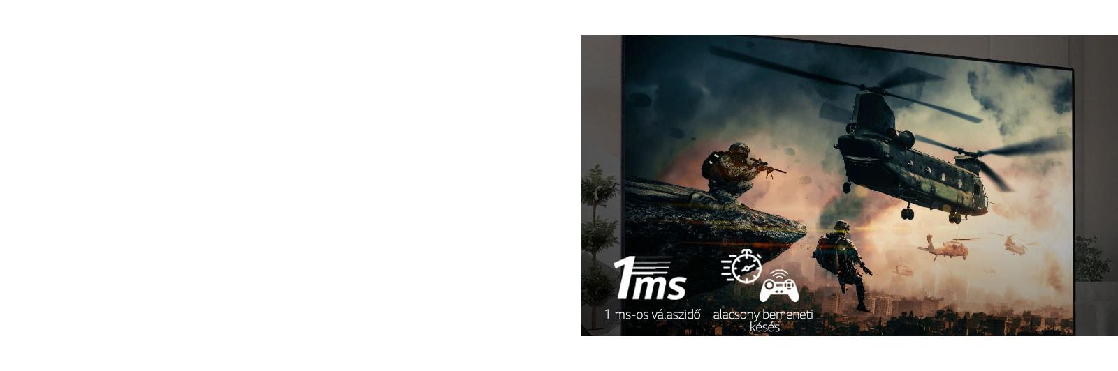 A tévékészülék csatajátékot jelenít meg fegyveres katonákkal és helikopterekkel repülve az égen.
