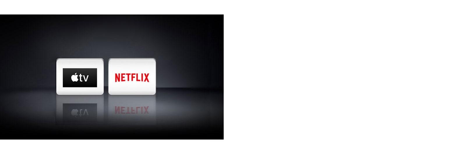 Két alkalmazás logója, balról jobbra haladva ezek: Apple TV alkalmazás, Netflix.