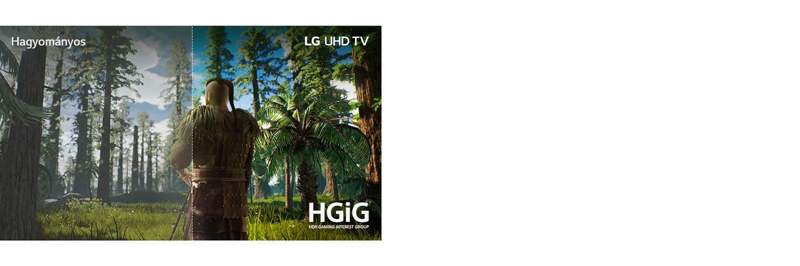 A TV képernyőjén egy jelenet jelenik meg egy játékból, melyben egy férfi áll az erdő közepén. A kép fele hagyományos képernyőn jelenik meg gyenge képminőséggel. A másik fele LG UHD TV-n élesen, élénk színekkel és kiváló képminőséggel.