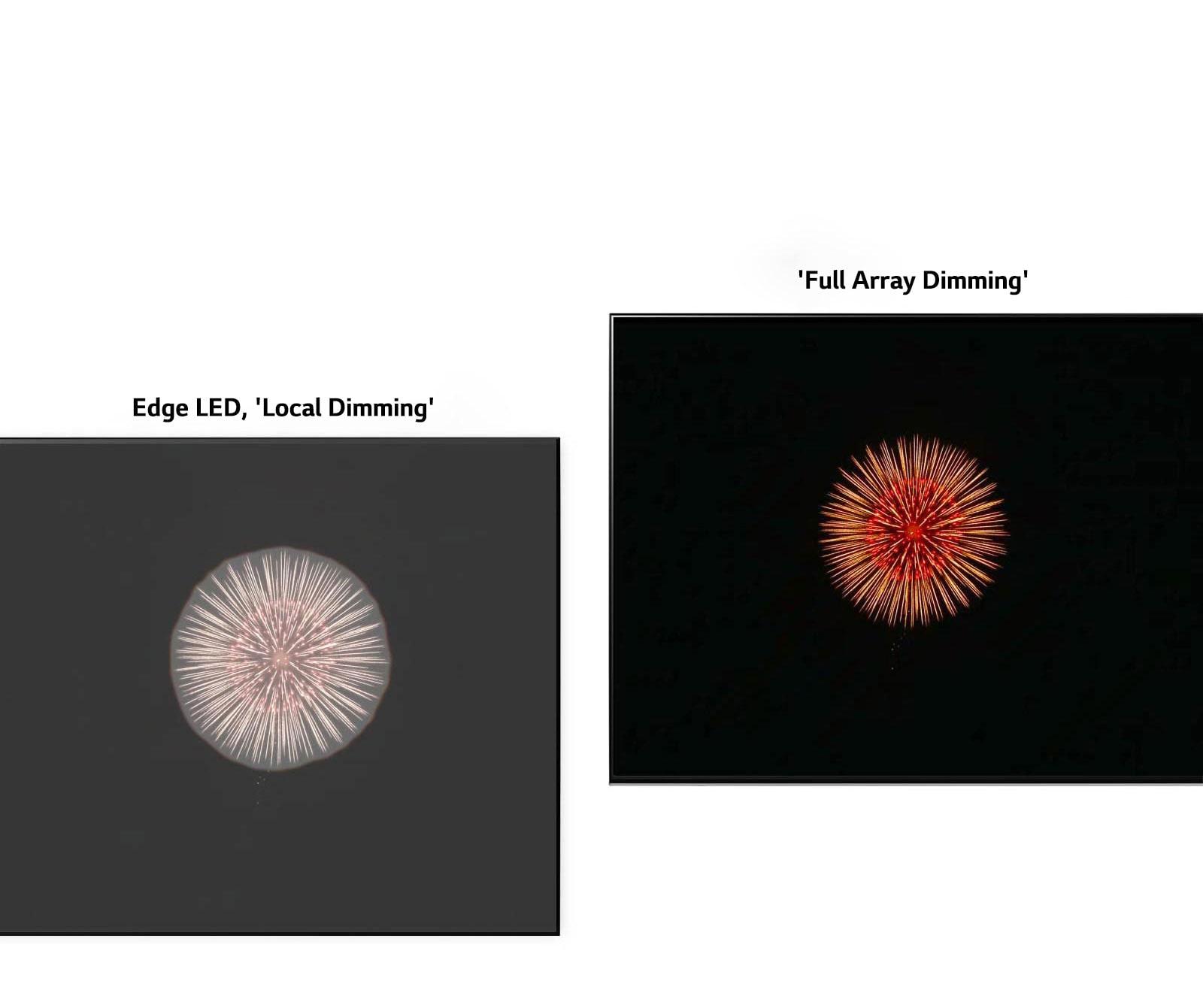 Bal oldalon az Edge LED és a Local Dimming holdudvarhatással, a jobb oldalon pedig a Full Array Dimming mélyebb feketével és kisebb holdudvarhatással (videó megtekintése).