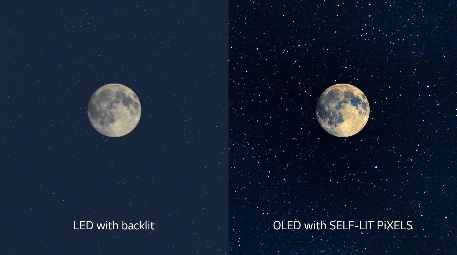 A hold képe, mely a bal oldalon LED képernyőn látható elmosódott feketével, a jobb oldalon pedig az OLED tökéletes feketéjével (videó megtekintése)