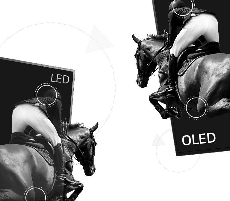 Lovaglós jelenet, melynek fele a LED TV-n látható gyenge kontraszttal, a másik fele pedig az OLED-en végtelen kontraszttal (videó megtekintése)