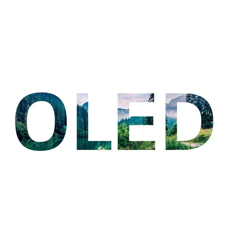 """Az """"OLED"""" szó, ahol egy természetet ábrázoló kép csúszik be jobb oldalról (videó megtekintése)"""
