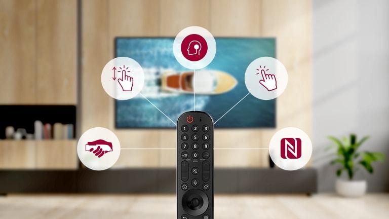 A Magic Remote távirányító fő funkciói láthatók egy piktogramon.